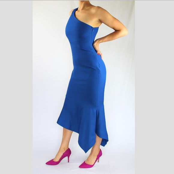 1ac43634788 VENUS One Shoulder Tulip Dress, Blue NWOT. M_5c1418fd6a0bb7ca435594fe